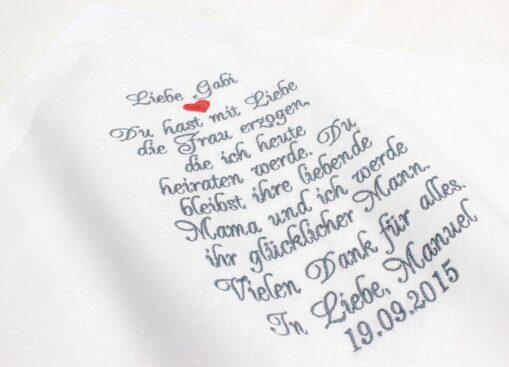 Besticktes Taschentuch zur Hochzeit für die Schwiegermutter des Bräutigams