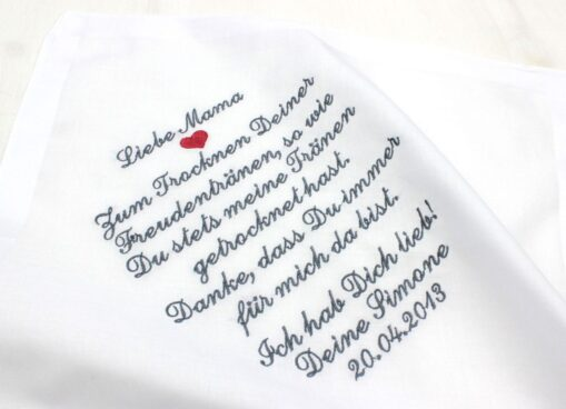 Besticktes Taschentuch zur Hochzeit für die Brautmutter, den Brautvater, Oma, Opa oder einen anderen lieben Menschen