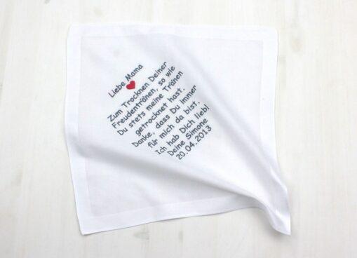 Besticktes Taschentuch zur Hochzeit für die Brautmutter, den Brautvater oder einen anderen lieben Menschen