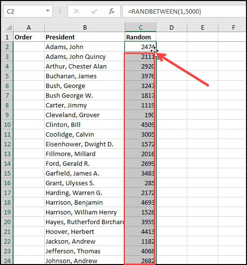 Copying the RANDBETWEEN formula down the column.