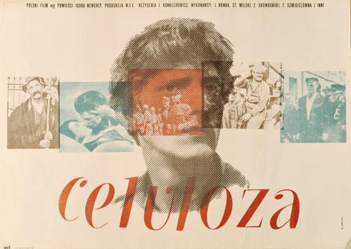 Polski plakat filmowy z 1979 do filmu polskiego w reżyserii Jerzego Kawalerowicza Celuloza. Projekt plakatu: Wojciech Zamecznik