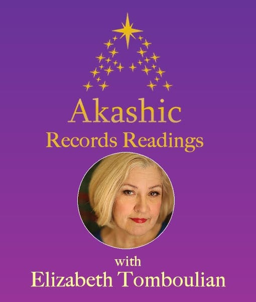 purple background gold stars round image of Elizabeth Tomboulian Akashic Records Guide