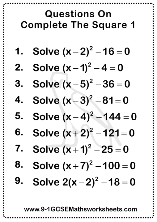 Completing The Square Questions 1