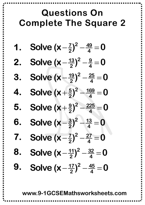 Completing The Square Worksheet 2