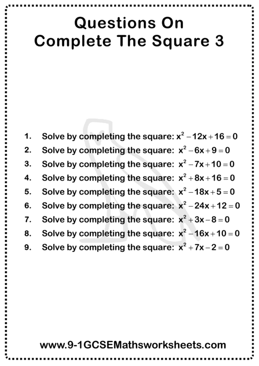 Completing The Square Worksheet 3