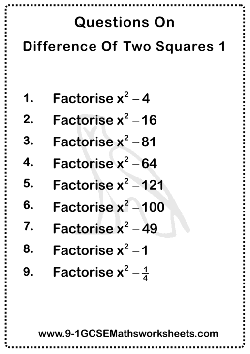 Difference Of Two Squares Worksheet 1