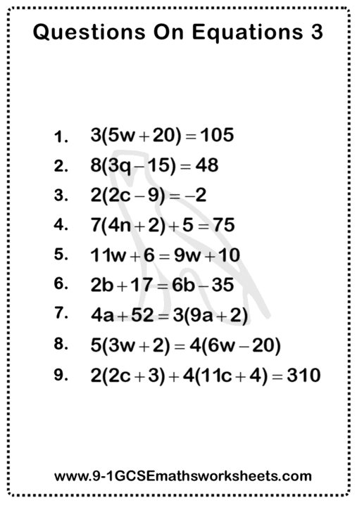 Equations Worksheet 3