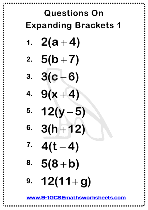 Expanding Brackets Worksheet 1