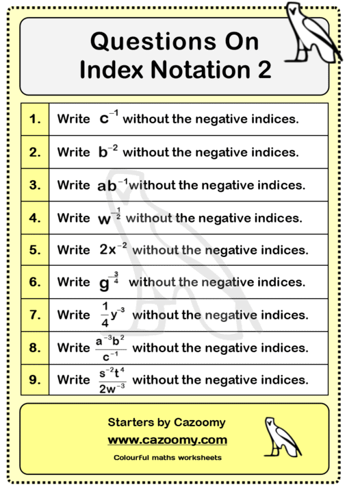 Index Notation Worksheet 2