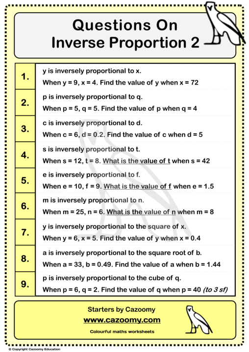 Inverse Proportion Worksheet 2