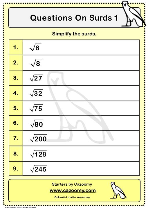 Surds Worksheet 1