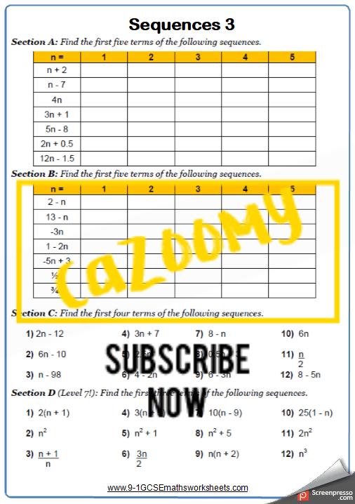 Finding Nth Term Worksheet 3