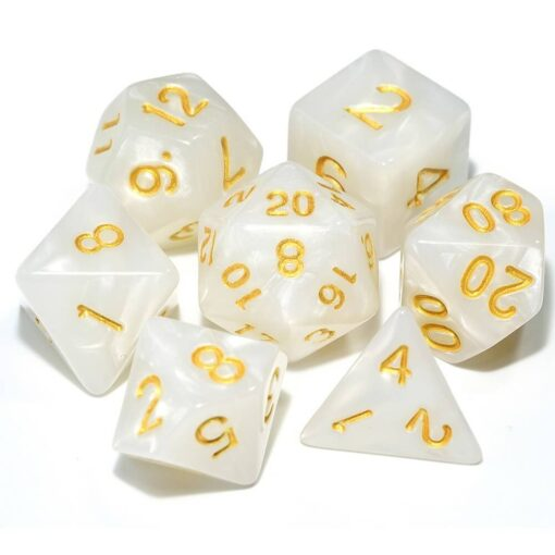 DND White and Gold Dice