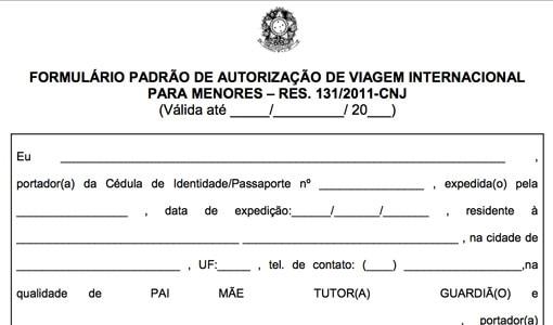 formulário autorização menor viajar