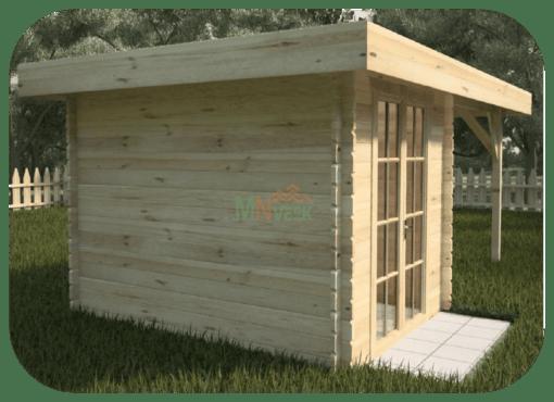 Caseta de Jardín Montecristo2 3000mm x 3500mm 28mm Grosor de la Madera Sin Suelo Techo Plano MNVEEK