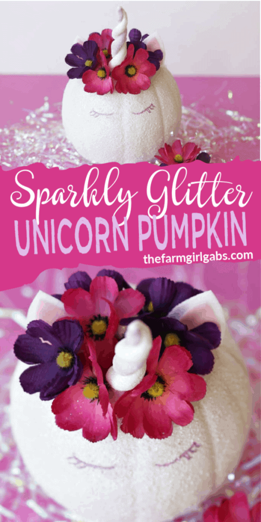 Make Halloween Magical! Make your own Sparkly Glitter Unicorn Pumpkin. This glitter-filled Halloween craft is so simple to create. #Unicorn #UnicornCraft #Halloween #HalloweenCraft #Pumpkin #NoCarvePumpkin