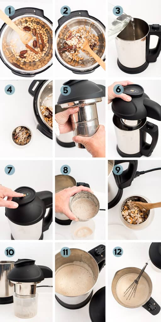 step by step collage of how to make horchata in the instant pot and almond cow