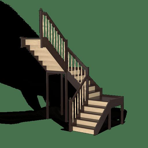 Трехмаршевая поворотная лестница с забежными ступенями