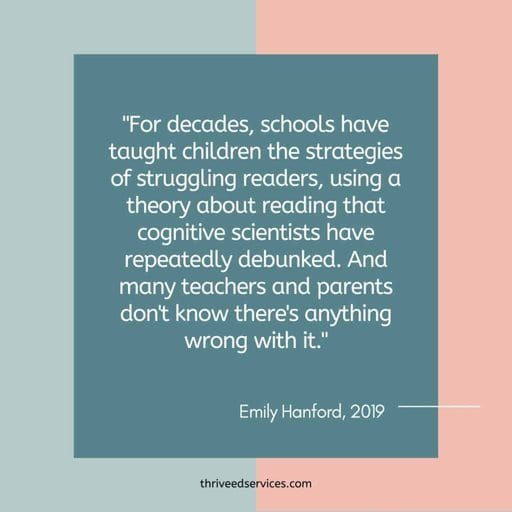 Emily Hanford quote about how schools teach reading the wrong way