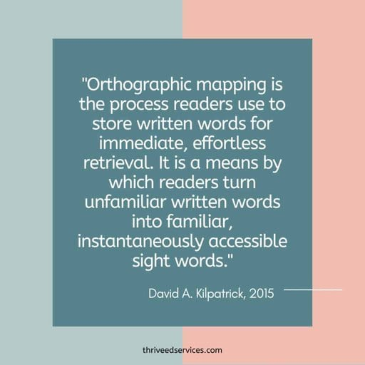 Kilpatrick quote about orthographic mapping and sight words