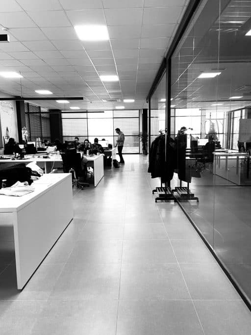 Open office spaces allowing for social distancing.