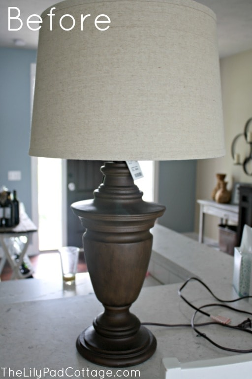 Chalk painted lamp makeover