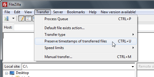 Preserve timestamps of transferred files Disabled - FileZilla