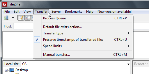 Preserve timestamps of transferred files Enabled - FileZilla