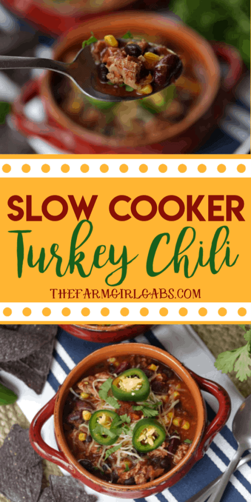 Savor the goodness of this easy Slow Cooker Turkey Chili. Save time by preparing this chili recipe in your slow cooker. #ad #Chili #ChiliRecipe #TurkeyChili #SlowCookerRecipe #CrockPotRecipe