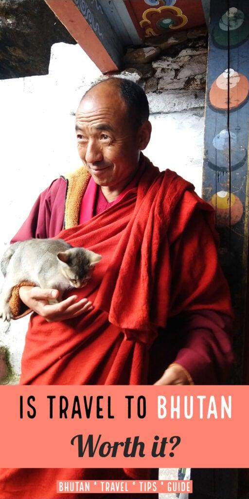 Travel to Bhutan Monk with kitten at Kila Goenpa Nunnery Chele la Gompa