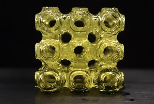 3D-printed molecular ferroelectric metamaterial made of imidazolium perchlorate. Credit: University at Buffalo.