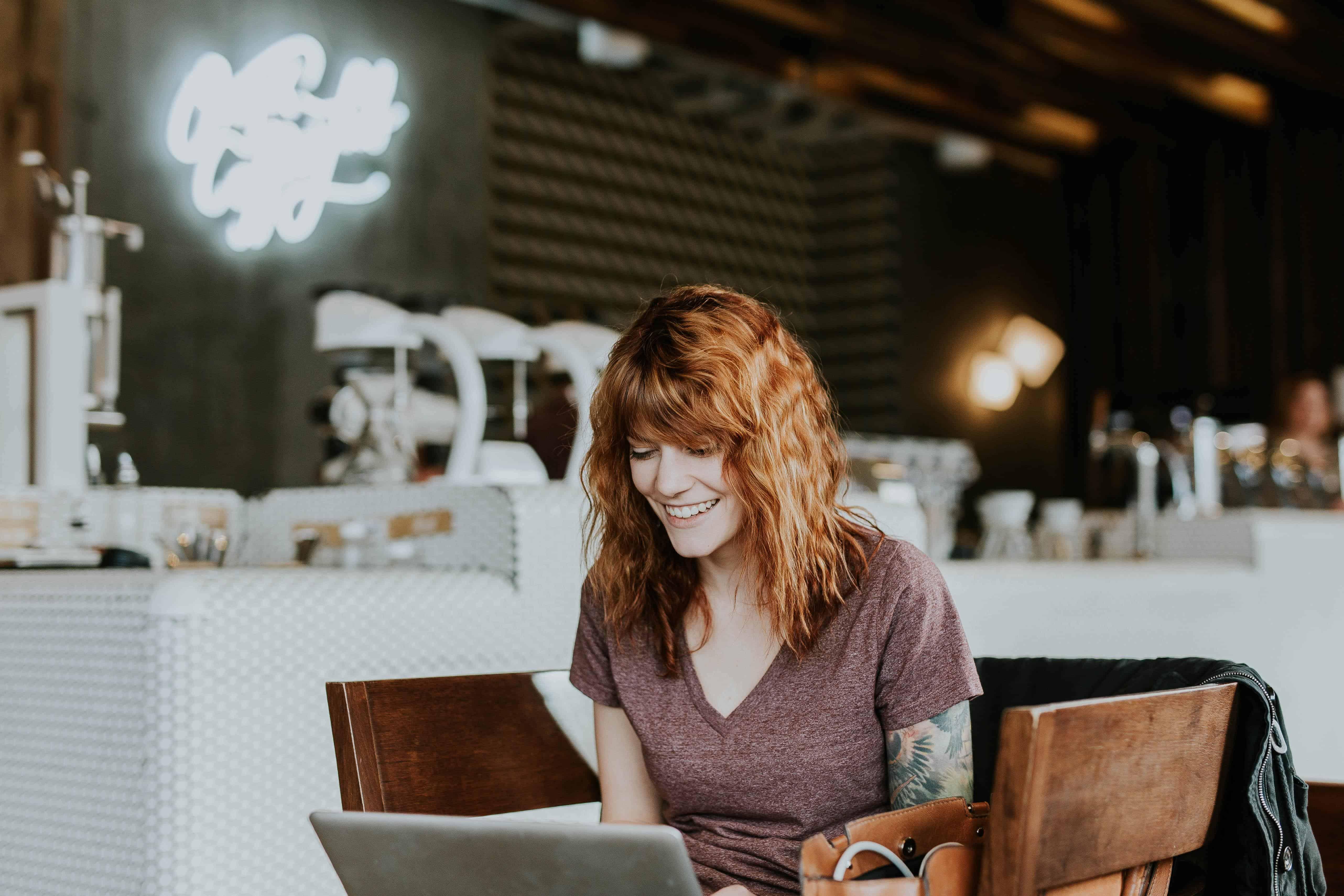 girl, computer, work
