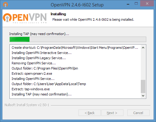 OpenVPN GUI installation in-progress