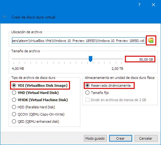 Crear disco duro virtual Windows 10 virtualbox