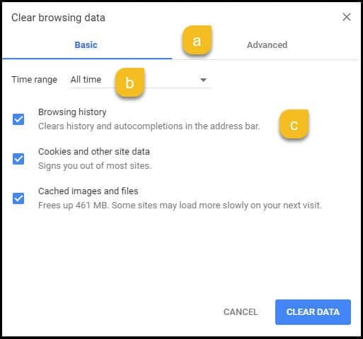 data clearing options.