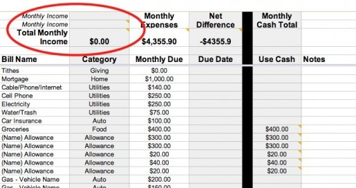Budgeting Spreadsheet - Monthly Income