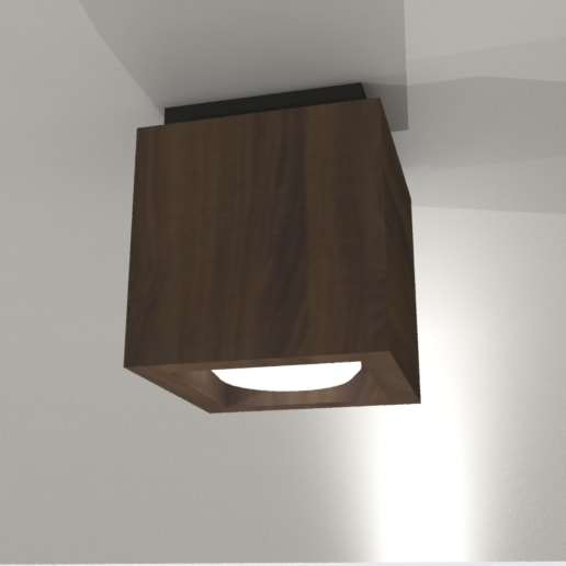 rendering showing flushmount box light in walnut with black ceiling canopy