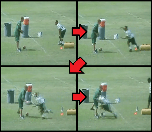 first step and pocket football drill