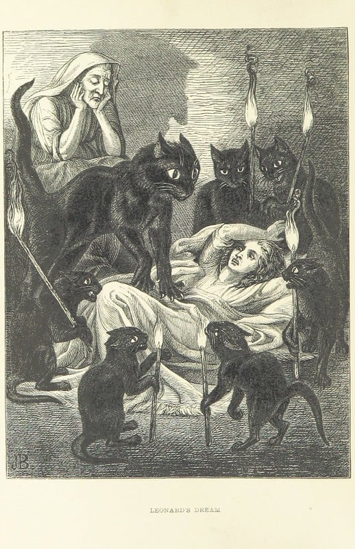 """and last night—­oh! last night! at the dead hour, there came in a procession—­of that I would take my oath—­seven black cats, each holding a torch with a blue flame, and danced around me, till one laid his paw upon my breast, and grew and grew, with its flaming eyes fixed on me, till it was as big as an ox, and the weight was intolerable, the while her spells were over me, and I could not open my lips to say so much as an Ave Mary.""  From: Lances of Lynwood by Charlotte Mary Yonge, 1855. Public Domain. Image: British Library."