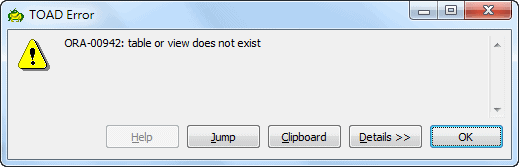 TOAD Error ORA-00942: Table or View Does not Exist