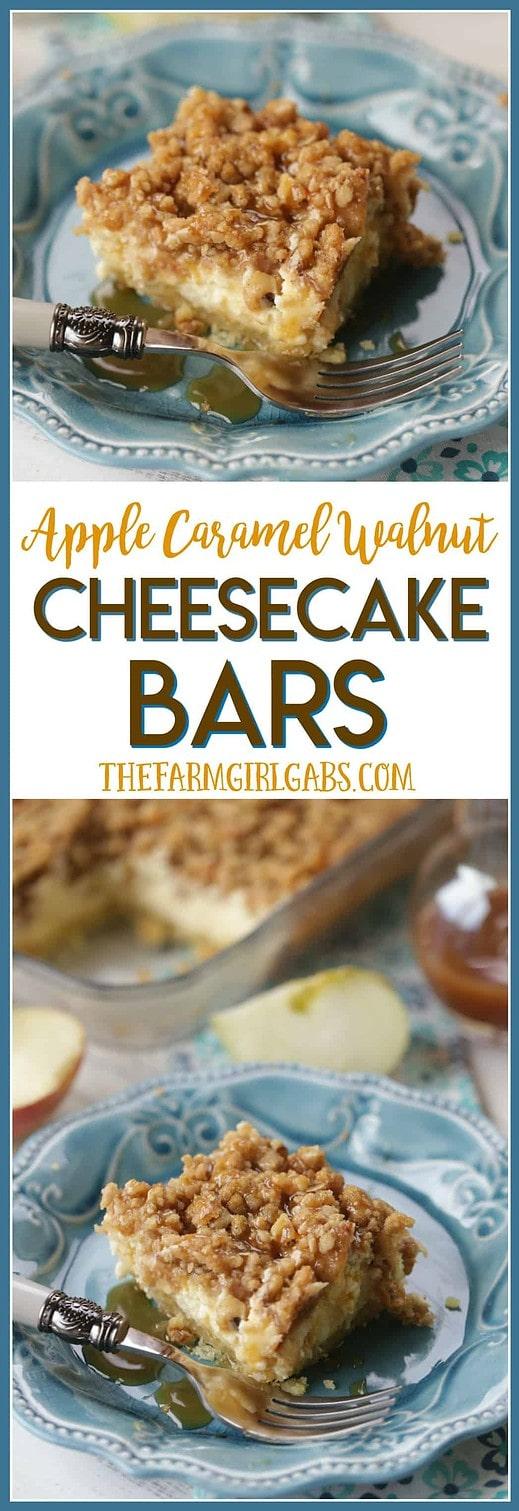 Apple season calls for the perfect fall recipe. These Apple Caramel Walnut Cheesecake Bars are a family favorite. #Ad #ExperienceScrubDots