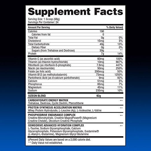 Gaspari Nutrition SizeOn mahdollinen suorituskyky täydentää tosiasiat etiketti
