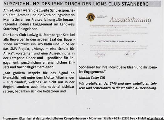 Auszeichnung des LSHK durch den Lions CLub Starnberg