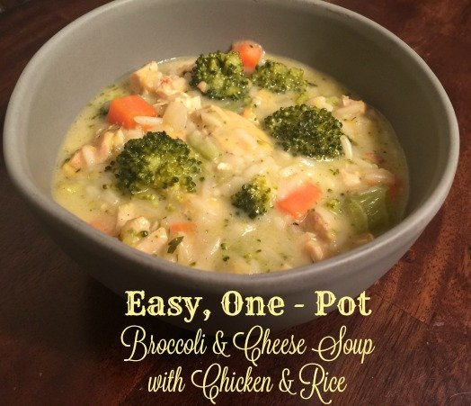 Easy, One - Pot Broccoli & Cheese Soup with Chicken & Rice