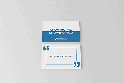 Photograph of the front and reverse of Training Central's Knowing Me, Knowing You cards. A training resource to help team's get to know each other better.