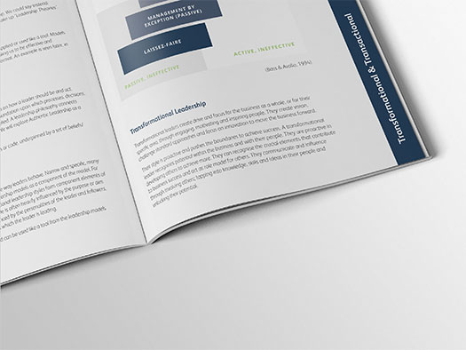 Image shows a close up of the inner pages of the workbook for Training Central's Advanced Leadership training materials.