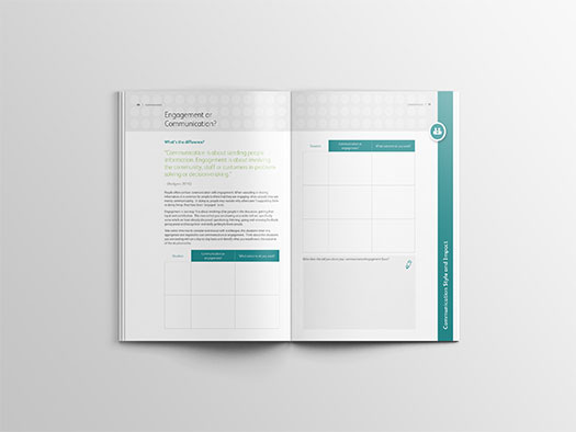 Image shows an internal double spread of the workbook for Training Central's communication skills training materials.
