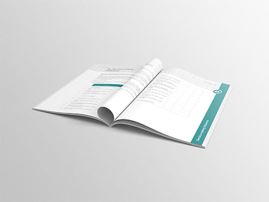Image of an inner spread of Training Central's Decision Making training materials workbook.