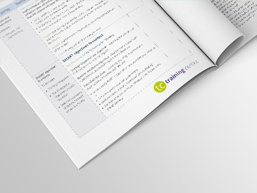 Image of an inner spread of Training Central's script for the SMART objective setting training materials.