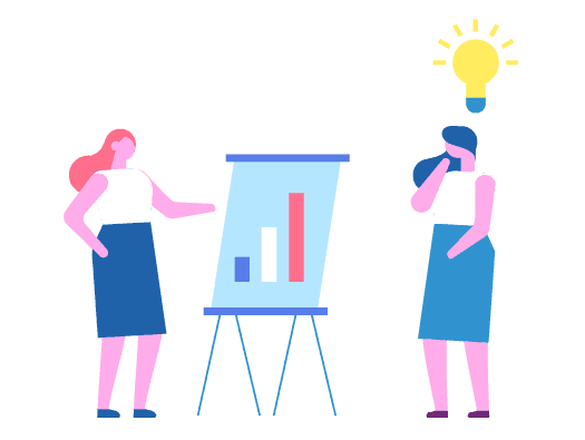 Image shows an example of how people learn from others through an illustration of a woman explaining a graph on a chart and a second woman with a lightbulb illuminated over her head.